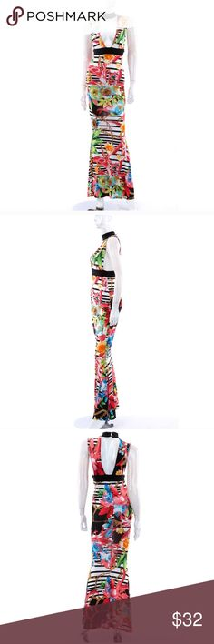 Colorful maxi dress A beautiful full length maxi dress. True to your size. It has the choker strap neck that buttons in the back, followed by a v neck. It has black stripes behind a vibrant colorful floral design. This dress hugs your curves ever so perfect. boutique item Dresses Maxi