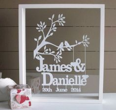 This is an original and unique papercut keepsake cut exclusively for you.  It makes a wonderful wedding or anniversary gift for the happy couple.This piece is cut from a single piece of A4 cardstock in white but other colours can be chosen.I can
