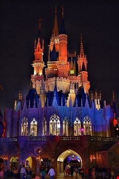 Each evening, when the sun sets, Cinderella's Castle is transformed once again. The Castle is illuminated in 16.7 million colors giving wonderful changing lighting effects.The colors on the Castle also change during the Disney Wishes Fireworks display.