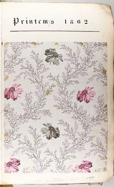 I really like this fabric. French textile, Spring 1862. Textile Sample Book, MET