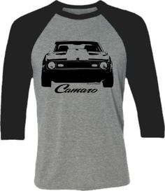 Camaro Muscle Car tShirt -Retro Camaro Car tshirt-Front End-Baseball Shirt in Heather Grey and Black