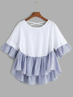 White Lattice Back Ruffle Hem High Low Blouse Simple Pakistani Dresses, Pakistani Fashion Casual, Fashion Wear, Kids Fashion, Fashion Dresses, Girls Boutique Dresses, Hijab Stile, Casual Outfits, Cute Outfits