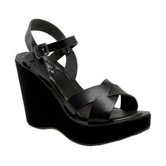 Women's Kork-Ease 'Bette' Wedge Sandal (449.190 COP) ❤ liked on Polyvore featuring shoes, sandals, black, black platform sandals, kork ease sandals, black wedge sandals, black leather sandals and platform wedge sandals