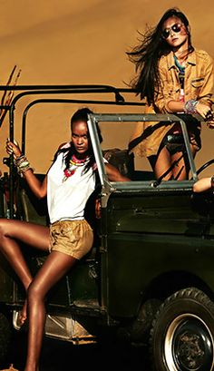 Beautiful Models Posing on on Land Rover, Safari Style ★ App for Land Rover or Range Rover ★ Land Rover Warning Lights guide, is now in App Store   https://itunes.apple.com/us/app/land-rover-indicators-warning/id923728395?ls=1&mt=8 If you drive Land Rover you should have this app on your iPhone