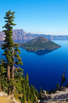Crater Lake with Wizard Island, Oregon: Home of the remarkably blue, crystal clear waters of the nation's deepest lake.