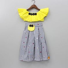 Pre Order: Yellow Crop Top And Checkered Palazzo Set Girls Frock Design, Baby Dress Design, Baby Girl Dress Patterns, Baby Girl Frocks, Baby Girl Party Dresses, Little Girl Dresses, Baby Frocks Designs, Kids Frocks Design, Kids Blouse Designs