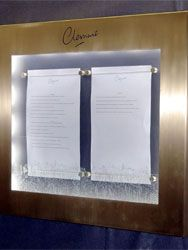 Clement 700 Fifth Avenue Illuminated menu display case