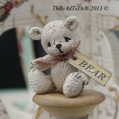 collectible bears | Knitted from hand dyed cotton, fully jointed and just a little under 2 ...