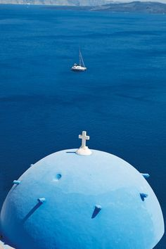 Santorini. The cupola of a church in Oia, Santorini, Greek Islands. Shot by Yiorgos Kordakis for Condé Nast Traveller | Beautiful pictures of Greece | CN Traveller
