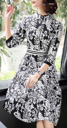 Vintage Stand Collar Long Sleeve Floral Print A-Line Dress