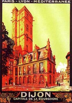 Vintage Railway Travel Poster - Dijon  -Capitale de Bourgogne - by R. Soubie (1920).