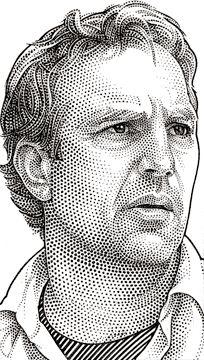 Wall Street Journal portrait (hedcut) of Kevin Costner