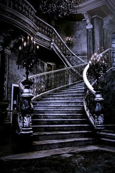 darkness gothic abandoned staircase Ceiling Hall