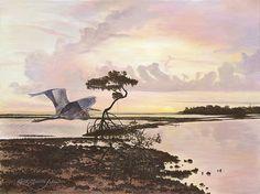www.keithmartinjohns.com Old Florida, Big Bird, Birds, Fine Art, Gallery, Beach, Painting, Roof Rack, The Beach