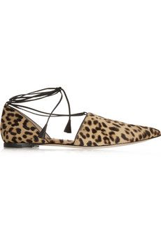 Gianvito Rossi Leopard-print calf hair point-toe flats | NET-A-PORTER