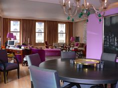 Jamie Drakes NYC apartment:  The decisive and dramatic color for which he has become known has a risk-taking quality to it, a kind of 'do-it-and-don't-look-back' sense of daring. If that is his design philosophy, then his own home in the Flatiron district, provides ample evidence of someone who is going to have his way with color, like it or not.