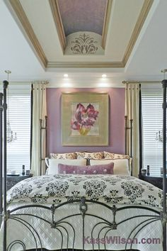 Do you love the unexpected stencil like this Gabi's Brocade stencil in this stunning bedroom?    Our stencil spotlight is shining on a FAB decorative artist, Kass Wilson from WallsTreat Studio. See her stenciled spaces on our blog! http://blog.cuttingedgestencils.com/?p=9744    #cuttingedgestencils #stencils #wallstencils