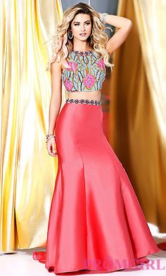 Coral Two Piece Long Open Back Prom Dress at PromGirl.com