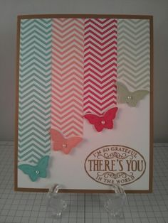 Stampin Up bitty butterfly card using the Papillon Potpourri & Chalk Talk stamp sets, versa mark & baked brown sugar ink. In colors 2013-2015.