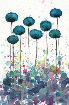 Buy 2 Get 1 FREE -- Watercolor Painting: Watercolor Flowers -- Art Print -- My Alter Ego -- Teal Flowers -- 5x7