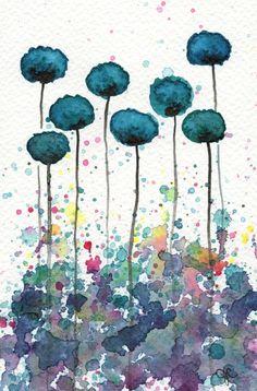 Kaufen 2 Get 1 FREE--Aquarell malen: Aquarell Blumen--Kunstdruck--mein Alter Ego--blaugrün Blumen--5 x 7