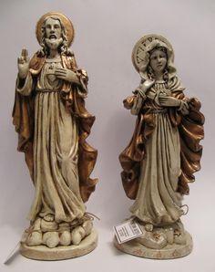 Peça de gesso executada em técnica efeito porcelana Sagrado Coração de Maria - aproximadamente 40 cm - ref: 00101 Sagr...