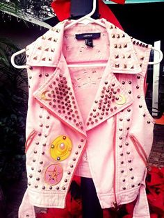 Punk vest Sailor moon vest jacket sailor moon patch spikes studs punk pink…