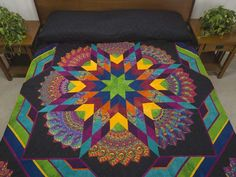 Bertha Quilt -- wonderful carefully made Amish Quilts from Lancaster (hs6213)   Wow! A striking Lone Star with fabrics selected by quilt designer Dolores Yoder. Note the great 'stack and whack' fans around the star . Dolores made the top and an Amish friend did the fine quilting.