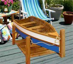 High Quality 370.00 Row Boat Coffee Table / CEDAR / GLASS TOP / 46 W X 21.5 D X