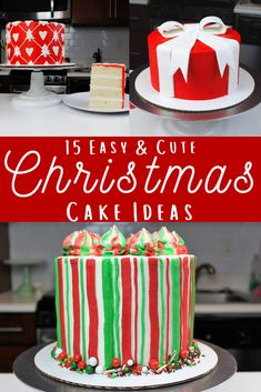 Sharing 15 awesome & easy Christmas cake decorations that will brighten your holiday celebrations! Get all the holiday baking inspo you need here. Christmas Cake Designs, Christmas Tree Cake, Christmas Cake Decorations, Christmas Cookies, Grinch Cake, Santa Cake, Present Cake, Gift Cake, Reindeer Cakes