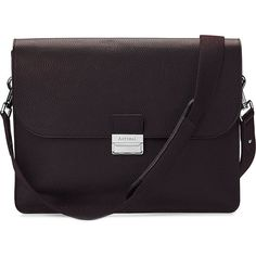 ASPINAL OF LONDON Savile pebble-embossed leather messenger bag ($895) ❤ liked on Polyvore featuring bags, messenger bags, brown, leather courier bag, messenger bag, genuine leather bag, brown messenger bag and real leather bag