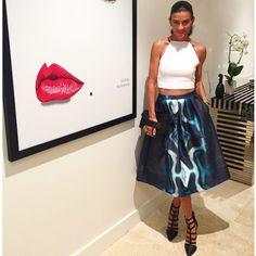 How amazing does @dan_kookai_australia look wearing the Pele Top, Sonic Skirt, Manhattan Clutch and Georgia Heels (coming soon), Shop the lo