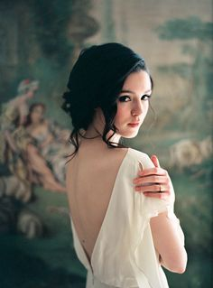 Old world wedding inspiration - bridal updo and flutter sleeve gown | Wedding Sparrow | Molly Zaidman Photography #fineartphotography