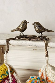 Perched Double Stocking Holder - this would look so nice on the mantle