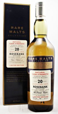 Very rare obsolete bottle from the closed distillery of Rosebank. Rare Malts Selection. Bottled at Natural Cask Strength. Limited Edition this is bottle No: 2719 Distilled 1979 bottled October 1999.