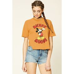 Forever 21 Women's  Mickey Mouse Graphic Tee ($18) ❤ liked on Polyvore featuring tops, t-shirts, forever 21 tee, forever 21, graphic design t shirts, graphic print tees and beige t shirt