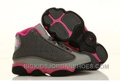 super popular 66a59 cfef2 Nike Air Jordan 13 Kids Grey Pink Cheap