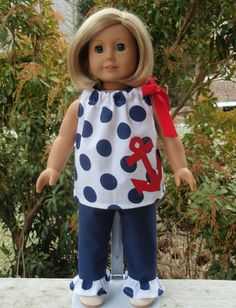 American Girl Doll Clothes Pillowcase Top Ruffle by SewSoNancy