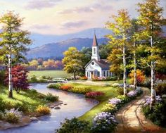 Risultati immagini per sung kim pinturas Painted Cottage, Cottage Art, Belle Image Nature, Landscape Paintings, Watercolor Paintings, Kinkade Paintings, Old Country Churches, Beautiful Sites, Beautiful Paintings