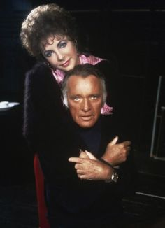 "Elizabeth Taylor and Richard Burton pose during rehearsal for ""Private Lives"" in 1983."