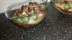 Curd's desert with chocolate, Bebe biscuits and grapes