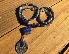 Lapis Boho Bead Necklace, Blue Boho Necklace, Lapis and Sodalite Necklace, Lapis Stone Necklace, Lapis Pendant Necklace, Blue Long Necklace -    Edit Listing  - Etsy