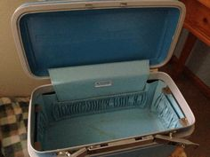 Blue Samsonite Train Case by sweetserendipityvint on Etsy, $12.00
