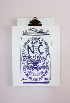 Dark Teal and Purple NC State of Mind Beer Art Print: Silkscreen Printed Hanging Art #Beer #NCState #organic #beershirt #NorthCarolina #NCshirt #910 #wilmington #northcarolina #honeybee #bee #EsseQuamVideri #craftbeer #mushpamensa Dark Teal, Purple, Dried Lavender Flowers, Beer Art, Beer Shirts, Silk Screen Printing, Recycle Plastic Bottles, Hanging Art, Craft Beer