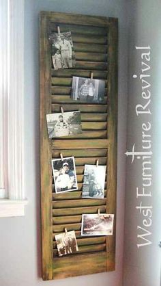 Repurposed Shutters as a picture display Old Shutters, Wooden Shutters, Repurposed Shutters, Window Shutters Decor, Shutters Inside, Decorating With Shutters, Bedroom Shutters, Window Wall Decor, Hallway Wall Decor