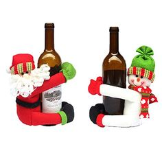 Christmas Ornament Homecube 2pcs Cute Santa Claus  Snowman Doll Wine Bottle Hold Cover Party Christmas Table Decoration ** Read more reviews of the product by visiting the link on the image. (This is an affiliate link)