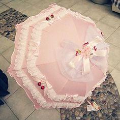 Pink Cherry Ruffles Sweet Lolita Parasol