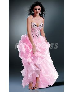 A-line Sweetheart-neck Short Front Long Back Organza Beaded Bodice Evening Gowns Prom Dress 2014, Prom Dresses For Sale, Dresses Uk, Homecoming Dresses, Sexy Dresses, Strapless Dress Formal, Nice Dresses, Bridesmaid Dresses, Formal Dresses