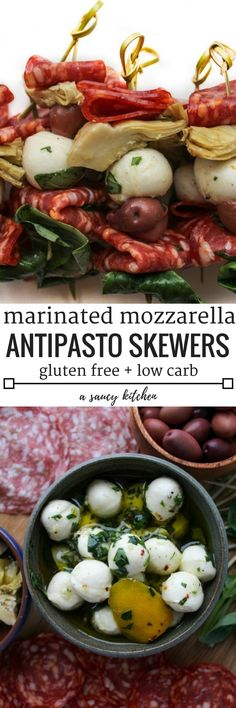 Simple Antipasto Skewers with pepperoni, olives, artichoke, fresh basil & marinated mozzarella | Gluten Free + Low Carb
