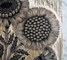 Inspiration for machine embroidery --- Valerie Lueth + Paul Roden, Tugboat Printshop ~ Daisy Bouquet ~ Woodcut Detail Sgraffito, Linocut Prints, Art Prints, Block Prints, Woodcut Art, Floral Prints, Lino Art, Stamp Carving, Linoprint